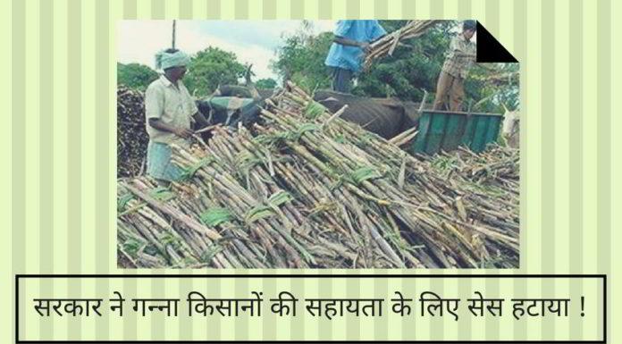 सरकार ने गन्ना किसानों की सहायता के लिए सेस हटाया !