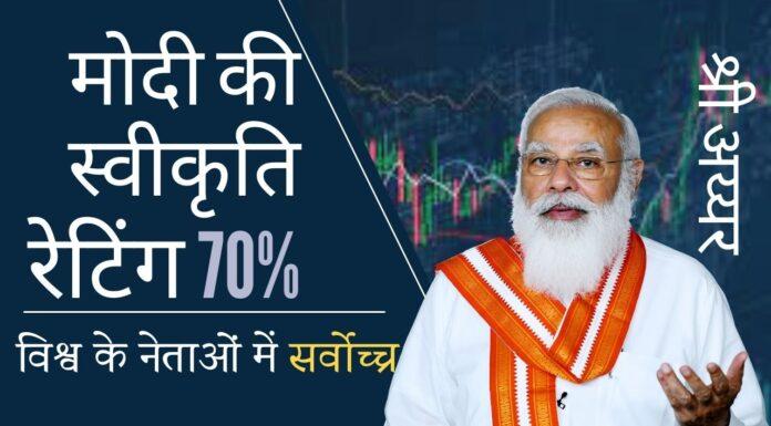 वैश्विक नेताओं की स्वीकृति रेटिंग पर नज़र रखने वाली एक वेबसाइट ने मोदी को सबसे लोकप्रिय नेता का दर्जा दिया है!